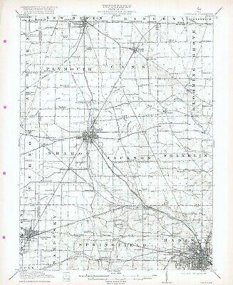 1915 Crestline OH USGS 15' Top Map Mansfield Shiloh Plymouth Shelby Ontario Rome