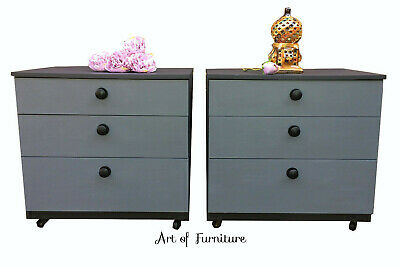 2 Ash & Silver Bedside Tables / Small Chests of drawers hand painted Upcycled