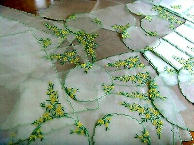 28 Pieces Vintage Madeira? Set Hand Embroidered Organza Tablecloths Mats ~Unused