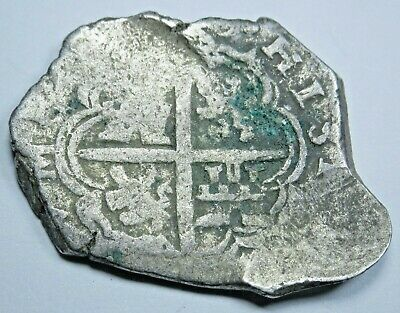 1600's Spanish Silver 2 Reales Cob Piece of 8 Real Colonial Pirate Treasure Coin