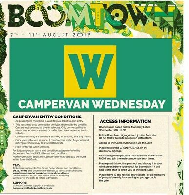 Boomtown Fair 2019 Chapter 11 Campervan South Ticket Pass, Arrival Wed Onwards
