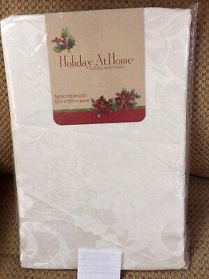 Ivory Christmas Tablecloth Holiday at Home Poinsettia New Various Sizes