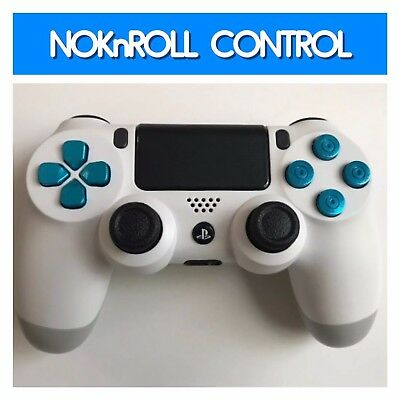 CUSTOM MODDED PS4 Controller V2 Pro White With Chrome Blue Bullet Buttons  -(21)