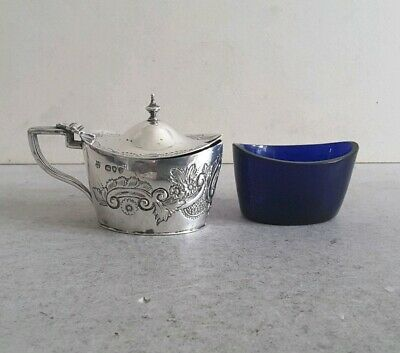 Pretty, Embossed Antique Solid Silver Oval Mustard Pot.         Lon. 1890.
