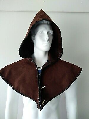 Medieval-SCA-Re enactment-LARP-Cosplay-Gothic-Steampunk Leather Hero Hood