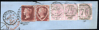 1879 Line-engraved & Surface Printed Stamps (5) Tied Piece Via France @ 10d Rate