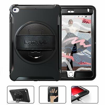 For iPad Mini 5 7.9 Case FullBody Rugged Protective Cover with Hand Strap Black