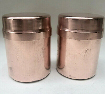 Vintage French Matching Pair Of Copper Kitchen Containers With Lids, Kitchenalia