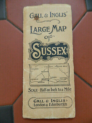 Antique Original 1909 GALL & INGLIS Large Map Of Sussex Half An Inch To A Mile