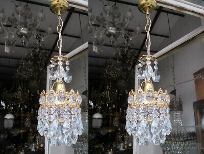 """A Pair Antique Vintage French Brass Mini Crystal Chandelier lamp 1940s 5,6"""" dmtr"""