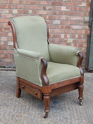 Antique upholstered mahogany library armchair reading / sewing chair with drawer