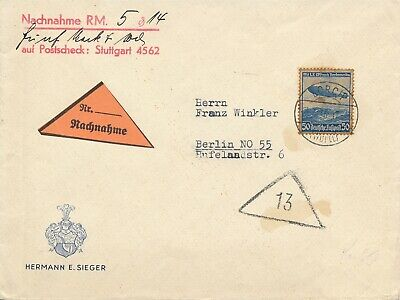 Cover Hindenburg 1936 Zeppelin Berlin USA LZ 129 Airmail Luftschiff Sieger Stamp
