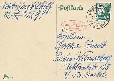 Card Hindenburg 1936 Zeppelin Germany Berlin LZ 129 Airmail War Era