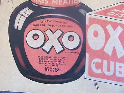 original antique 1930's OXO PRICE SIGN & SHOWCARD