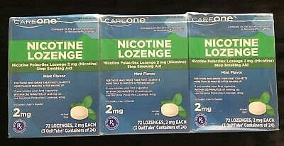 3 boxes 72ct each CareOne Nicotine Lozenges  216 Mint Flavor 2 mg Exp 9/20