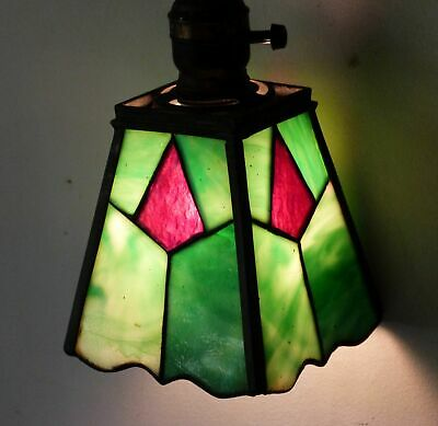 Antique Arts & Crafts Leaded Slag Glass Pendant Lamp Stickley Era