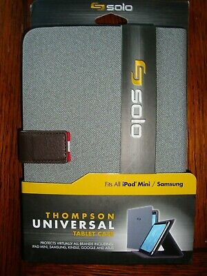 Solo Thompson Universal Tablet Case Fit iPad Mini/Samsung Gray/Brown  NEW