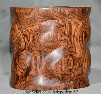 """6""""Unique Old Chinese Huanghuali Wood Carved Dynasty Palace Brush Pot Pencil Vase"""