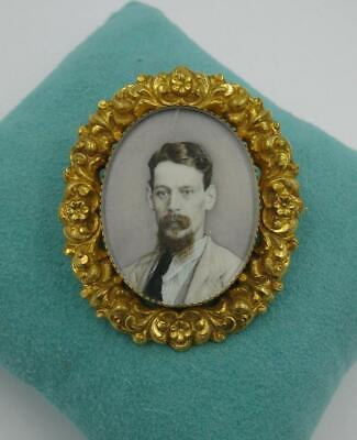 Writer D H Lawrence Portrait Miniature Brooch Hand Painted 18K Museum Quality