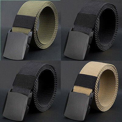 Men/'s Casual Outdoor Military Tactical Polyester Waistband Canvas Web Belt BF9