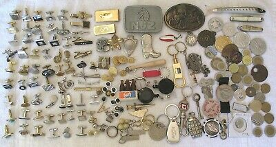 Large Lot Mens Vintage Junk Drawer Items & Jewelry & Miscellaneous