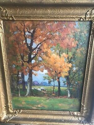 Vtg AM Fleming Oil Painting Signed Canadian Listed Artist Sheep Woodland 1927