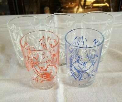 Vintage Swanky Swig ETA Peanut Butter Drinking Glasses x 5 - Koala Collection