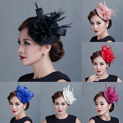 Women Fascinators Hair Clip Hairpin Hat Feather Flax Cocktail Wedding Tea Party