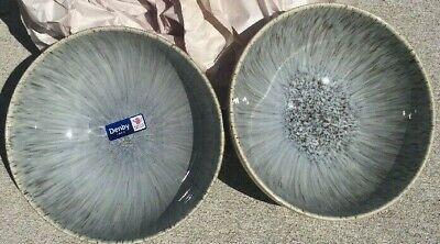 2 Lot Denby England HALO SPECKLE Coupe Cereal Soup Bowls NEW Stoneware Set Gray