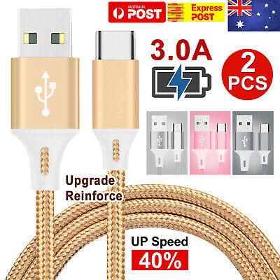 2x FAST Braided USB Type C USB-C Data Snyc Charger Cable Galaxy S9 S10 + HUAWEI