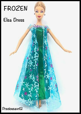 New Barbie doll clothes outfit princess wedding dress gown Frozen Elsa Dress