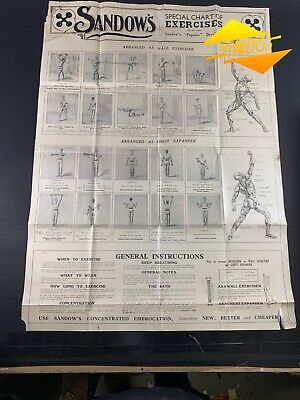c.1900 EUGENE SANDOW'S SPECIAL CHART OF EXERCISES ORIGINAL POSTER WEIGHTLIFTING