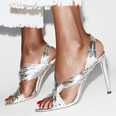 Women Cross Knot Wedding Bridal Shoes Peep Toe High Heel Slingback Sandals Party