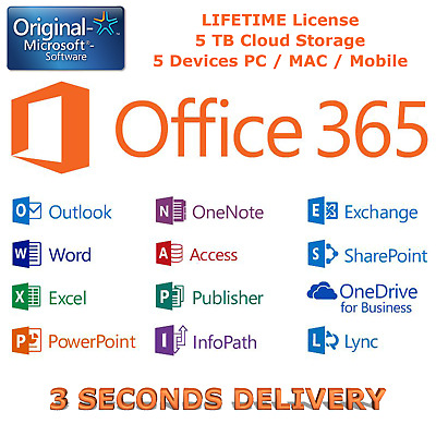 Office 365/2016 ProPlus 5 PC/Mac/Mobile - 5TB Onedrive - Instant Delivery 3 Sec.