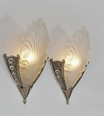 MOUYNET : PAIR OF 1930 FRENCH ART DECO WALL SCONCES  lights lamp 1925 muller era