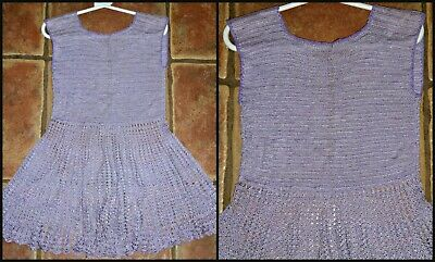 Beautiful Vintage 60S Lacy Crocheted Little Girls Dress Approx Age 6 Chest 23""