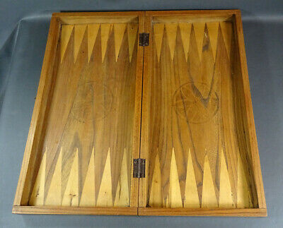 19c.Antique Backgammon Game Board Oak Wood Wooden Folding Box Dovetailed Corners