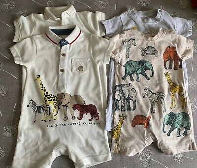 Baby Boys X 4 Rompers Age 3-6 Months Ideal For Hot Weather