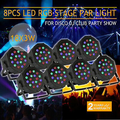 8PCS 54W RGB 18x LED ParCAN Stage Lighting DMX512 DJ Disco Party Strobe KTV