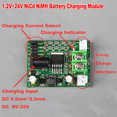 1.2V-24V 2.4V 3.6V 6V 12V 18V Ni-Cd Ni-MH Battery Charger Module Charging Board