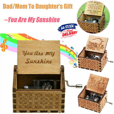 Retro Wooden Handmade Engraved Music Box To Daughter Gift -You Are My Sunshine