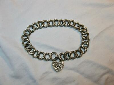 """Victorian Puffy Heart Bracelet Sterling Silver Lock c1870 8"""" Repousse Engraved"""