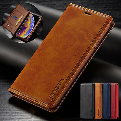 For iPhone 8 Plus 7 6S  XS Max XR Case Magnetic Leather Wallet Card Pocket Cover