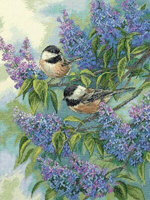"""DIMENSIONS GOLD COLLECTIONS""""CHICKADEES AND LILACS"""" CROSS STITCH KIT Kreuzstich-S"""