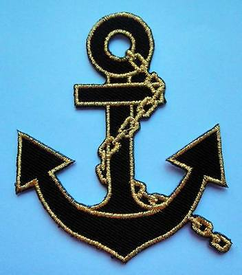 CUTE PRETTY RED GOLDEN ANCHOR Embroidered Iron on Patch Free Postage