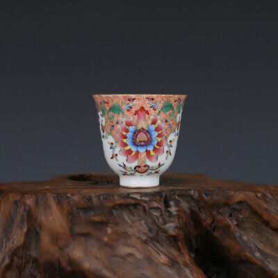 Beautiful Chinese Porcelain Qing Enamel Color flowers Cup *lucky_integrity_deal*