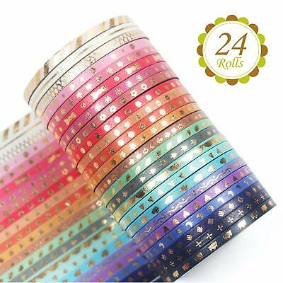 Yubbaex 24 Rolls Washi Tape Set Skinny Masking Gold Foil Print Decorative For Ar