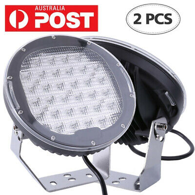 1Pair 9inch 96w 32 LED Driving Light Round Spotlight Bar Offroad 4WD Lamp 185W