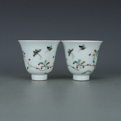 Rare Chinese Porcelain Qing Wucai Pansy Cups Pair *lucky_integrity_deal*