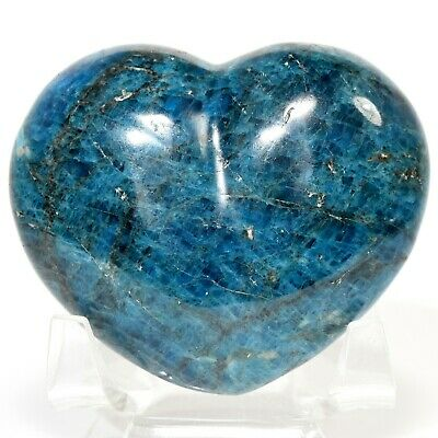 "2.7"" Deep Blue Apatite Puffy Heart Polished Gemstone Crystal Mineral Madagascar"